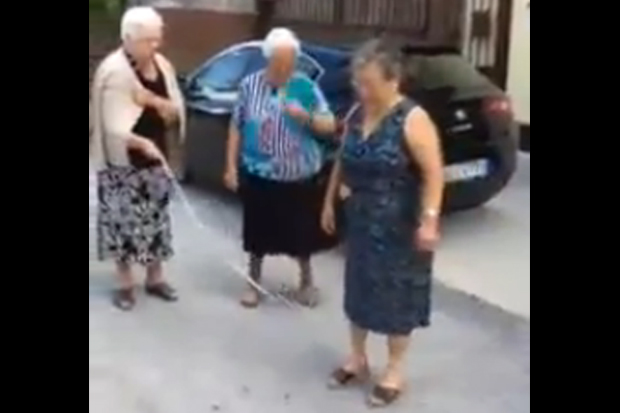 Group Of Old Ladies Play Jump Rope