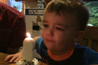 Dad saves the day to help his 2 year old blow out his candles!