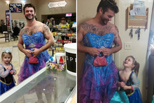 Little Girl Was Afraid To Wear Cinderella Dress By Herself, So Her Uncle Wore One Too