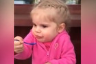 Little girl tries icecream for the first time
