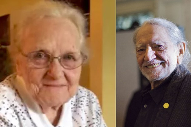92-year-old Lyndel Rhodes listens to Willie Nelson singing her song for the first time