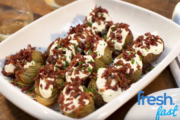 Hasselback Potatoes with Sour Cream and Bacon