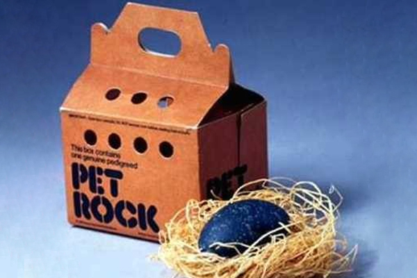1975: Pet Rock. Fun Fact: Pet Rocks were only wildly popular for about six months, but 1.5 million were sold for $4 each during that time, making creator Gary Dahl a millionaire.