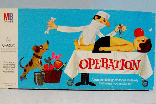 "1965: Operation. Fun Fact: The ""patient"" in Operation is nicknamed ""Cavity Sam""."