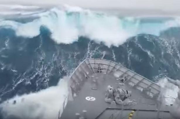 WATCH: NZ Navy sail through huge storm