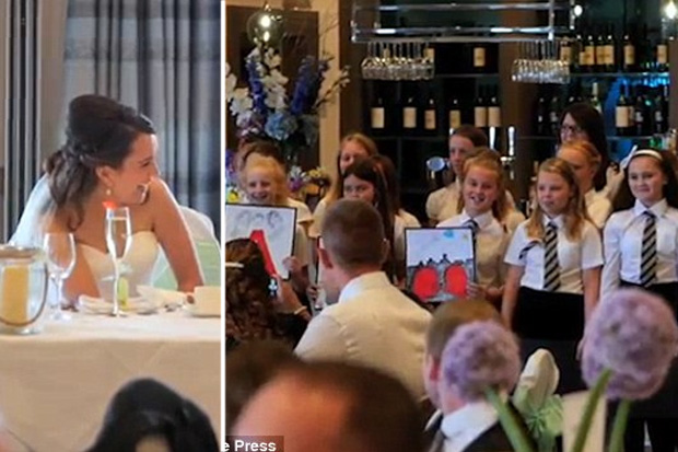 Romantic teacher asks students to sing for his wife at their wedding