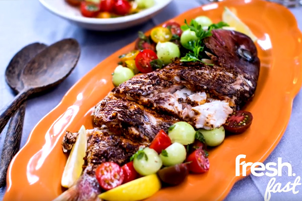Spicy Barbecue Snapper with Tomato & Melon Salad