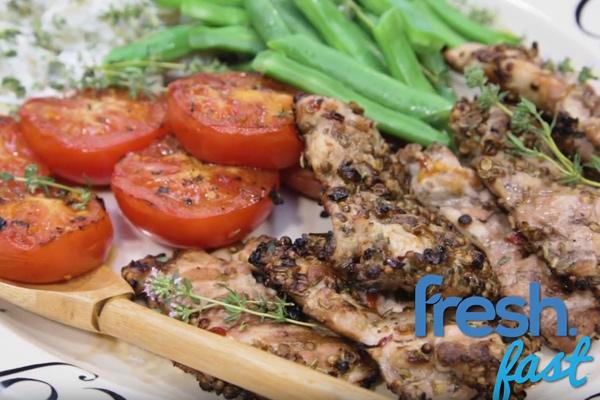 BBQ Spiced Chicken Thighs with Summer Vege