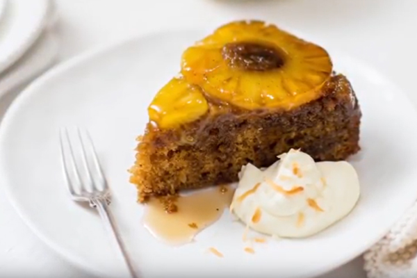 Upside-down Pineapple & Ginger Cake with Toasted Coconut Cream