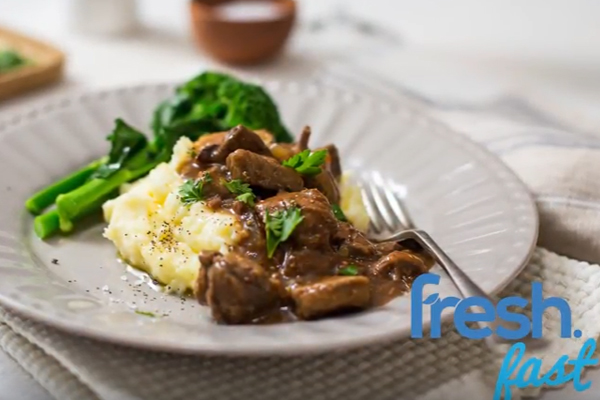 Beer & Onion Slow-cooked Beef with Cheese & Garlic Mash