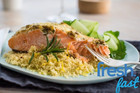 Salmon with Herb & Mayo Crust on Lemon Couscous